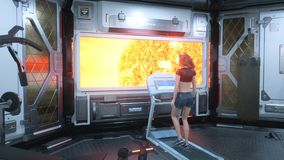 In the gym on a futuristic spaceship, a beautiful athlete runs on a treadmill in front of a porthole overlooking a