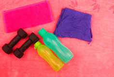Gym Gear, gym clothes and sports wear kit Stock Images