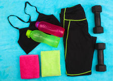 Gym Gear, gym clothes and sports wear kit Stock Photos
