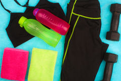 Gym Gear, gym clothes and sports wear kit Royalty Free Stock Photos
