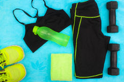 Gym Gear, gym clothes and sports wear kit Stock Photography