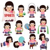 Gym girl. Girl exercise on gym equipment Royalty Free Stock Photos