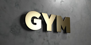 Gym - Gold sign mounted on glossy marble wall  - 3D rendered royalty free stock illustration. This image can be used for an online website banner ad or a print Stock Images