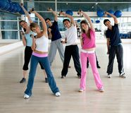 Gym group exercising Royalty Free Stock Images