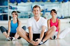 Gym group stretching Royalty Free Stock Image