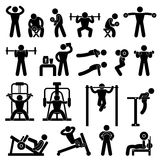 Gym Gymnasium Body Building Exercise Training. A set of pictogram showing a set of artwork related body building workout Stock Image