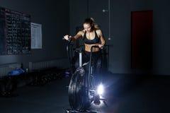 Gym hard training woman. Woman hard   training in gym Royalty Free Stock Image