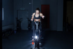 Gym hard training woman. Woman hard   training in gym Royalty Free Stock Photography