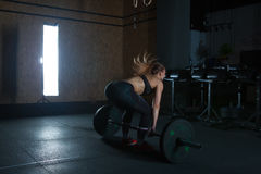 Gym hard training woman. Woman hard   training in gym Stock Images