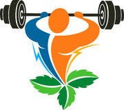 gym herbal health food logo Royalty Free Stock Image