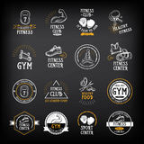 Gym i sprawność fizyczna klubu logo projektujemy, bawimy się, odznakę Wektor z graphi Zdjęcie Stock
