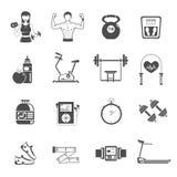 Gym Icon Black Set Stock Images