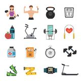 Gym Icon Flat Set Stock Photos