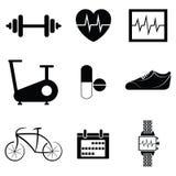 Gym icon set Stock Photos