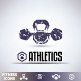 Gym icons, fitness grunge emblems Stock Photography