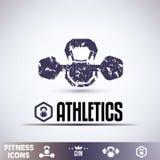 Gym icons, fitness grunge emblems