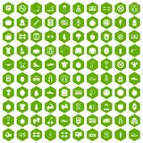 100 gym icons hexagon green. 100 gym icons set in green hexagon isolated vector illustration Royalty Free Stock Photography