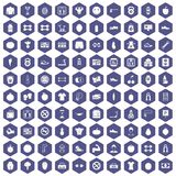 100 gym icons hexagon purple. 100 gym icons set in purple hexagon isolated vector illustration Royalty Free Stock Image