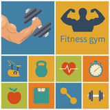 Gym icons Stock Image