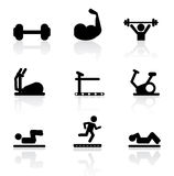 Gym icons Stock Photos