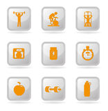 Gym icons Stock Images
