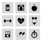 Gym icons. Over white background vector illustration Royalty Free Stock Images