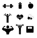 Gym icons Royalty Free Stock Photos