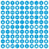 100 gym icons set blue. 100 gym icons set in blue hexagon isolated vector illustration vector illustration