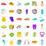 Gym icons set, cartoon style Royalty Free Stock Photo