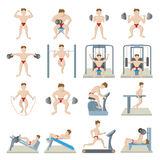 Gym icons set, cartoon style Royalty Free Stock Photography