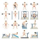 Gym icons set, cartoon style. Gym icons set in cartoon style  on white background Royalty Free Stock Photography