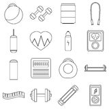Gym icons set, flat style. Gym icons set. Flat illustration of 16 gym vector icons for web Royalty Free Stock Photos