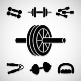 Gym icons set great for any use. Vector EPS10. Royalty Free Stock Images
