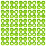 100 gym icons set green circle. Isolated on white background vector illustration Stock Photo