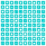 100 gym icons set grunge blue. 100 gym icons set in grunge style blue color isolated on white background vector illustration stock illustration