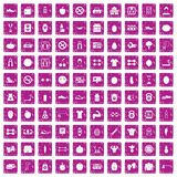 100 gym icons set grunge pink. 100 gym icons set in grunge style pink color isolated on white background vector illustration vector illustration