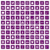 100 gym icons set grunge purple. 100 gym icons set in grunge style purple color isolated on white background vector illustration royalty free illustration