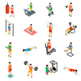 Gym icons set Stock Photos