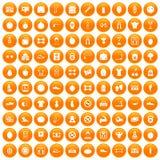 100 gym icons set orange. 100 gym icons set in orange circle isolated on white vector illustration Vector Illustration