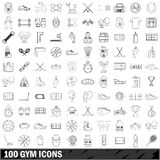 100 gym icons set, outline style. 100 gym icons set in outline style for any design vector illustration Royalty Free Stock Images