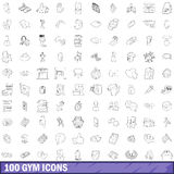 100 gym icons set, outline style. 100 gym icons set in outline style for any design vector illustration Stock Image