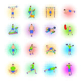 Gym icons set, pop-art style Stock Images
