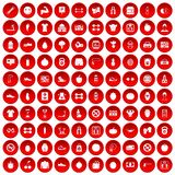 100 gym icons set red. 100 gym icons set in red circle isolated on white vector illustration Royalty Free Stock Photography