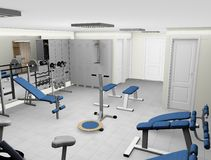 Gym illustration. Illustration of fitness or gym room with equipment Stock Photography