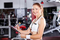 Gym instructor. Female gym instructor half length portrait Royalty Free Stock Photography