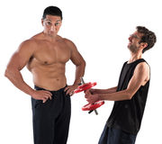 Gym instructor mockingly Stock Photos