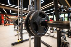 Gym interior with barbell royalty free stock image
