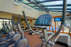 Gym interior with equipment Stock Photos
