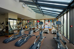 Gym interior with equipment Royalty Free Stock Images