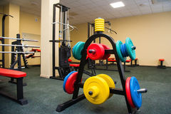 Gym interior with equipment. Interior of new modern gym with equipment Stock Photography